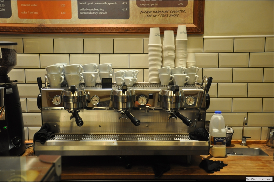 Coffee comes from the impressive three-head Synesso machine