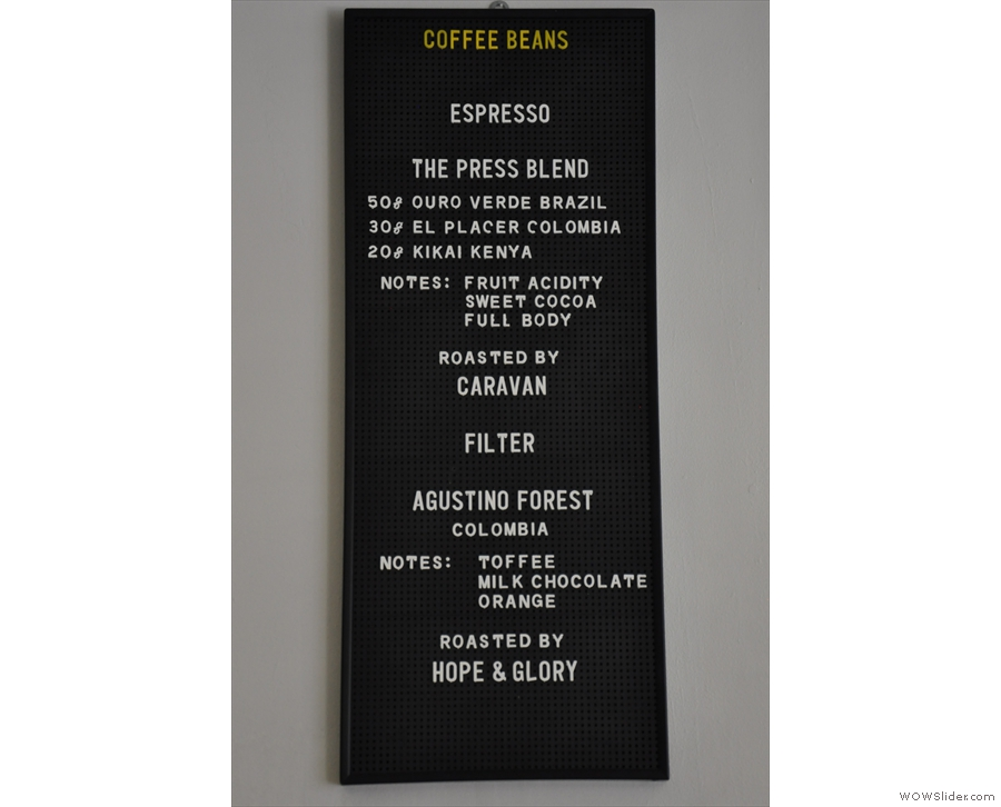 Today's beans: the 'Press Blend' by Caravan and the filter by Hope & Glory.