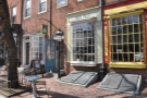 Bodhi Coffee's narrow storefront on Headhouse Square...