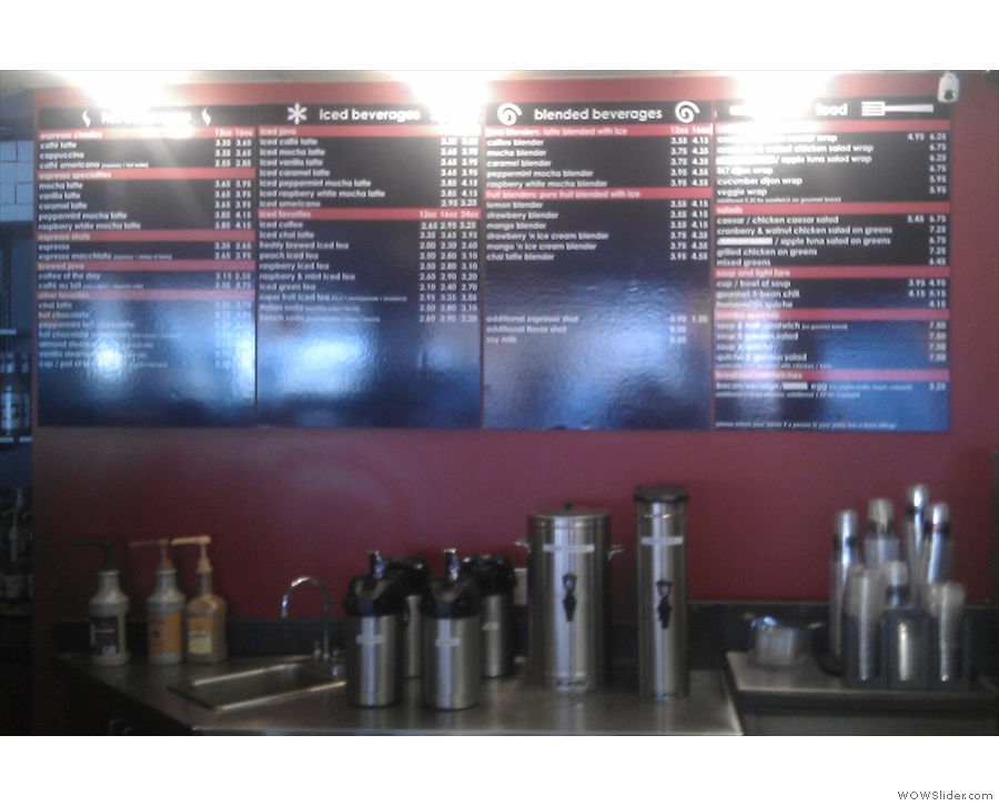 The somewhat extensive menu.