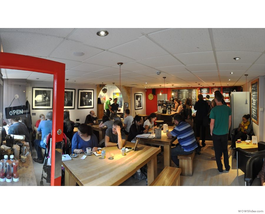 A panoramic view of Hot Numbers from the front door. It was really busy!