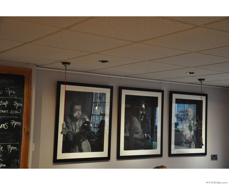 Hot Numbers is also a music venue, which is reflected by the artwork in the main room.