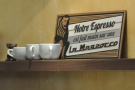 How true (for the non-French speakers: 'Our espresso is made on a La Marzocco').
