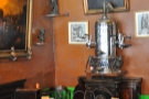 The cylindrical espresso machine dates from 1902, but sadly isn't in working order.