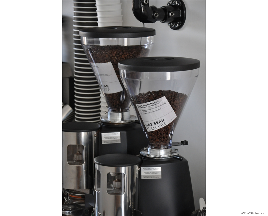 Twin grinders for the house blend and the decaf.