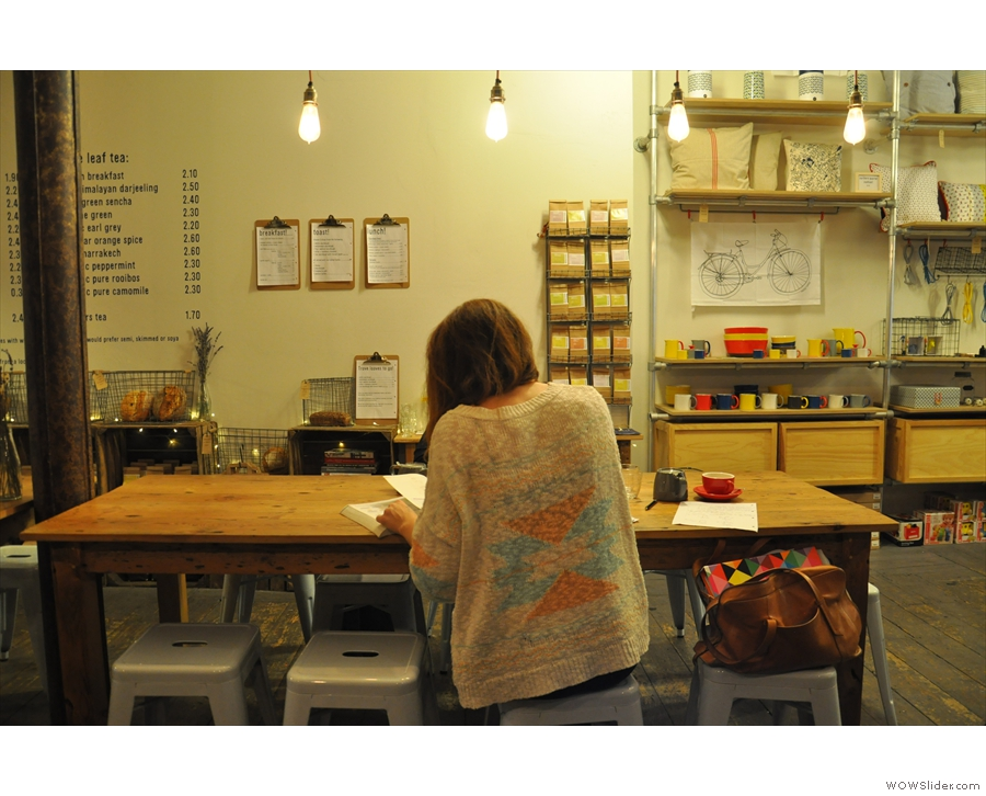 Or you can perch on a stool at the big communal table in the middle.