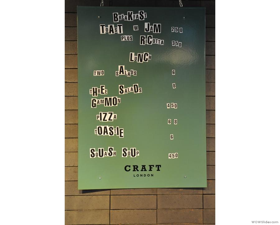 This is the food menu...