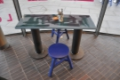 Back inside, the tables are lovely. They're designed by Tom Dixon.
