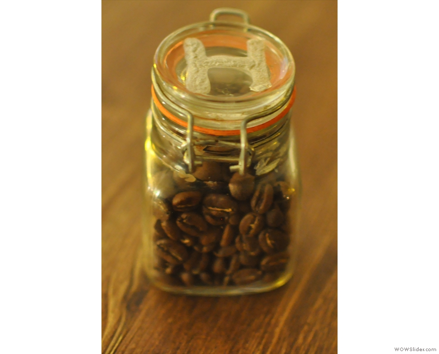 On ordering, you're given a little jar of beans so they know where to bring your coffee.