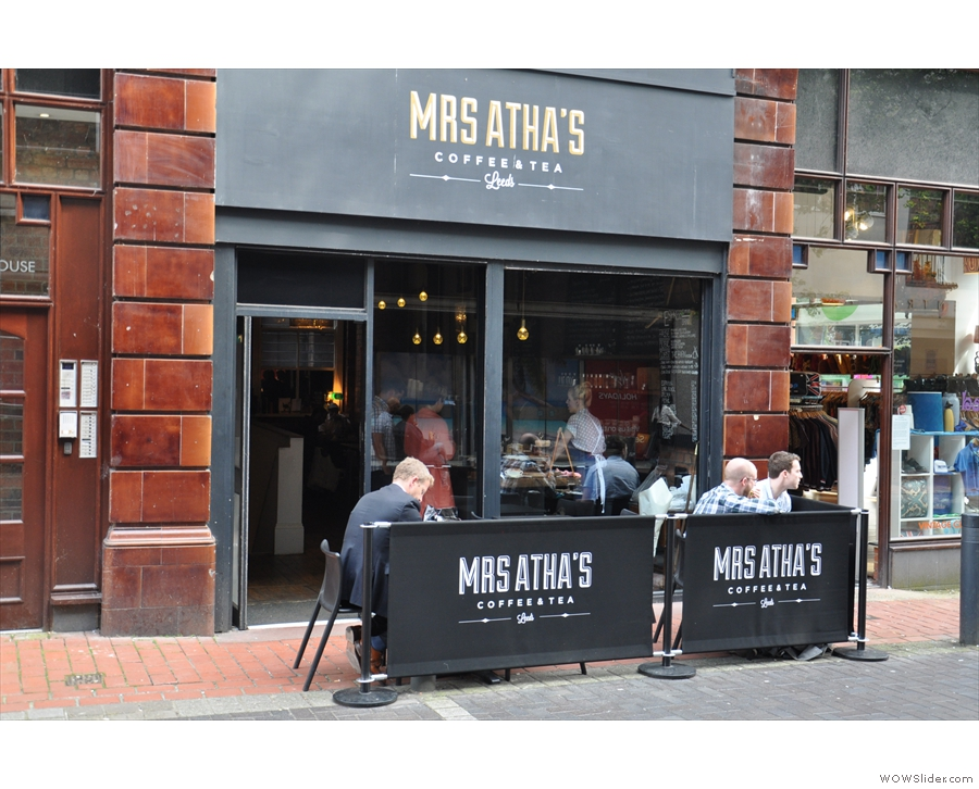 Mrs Atha's, with its outside seating area on the pedestrianised Central Road in Leeds.