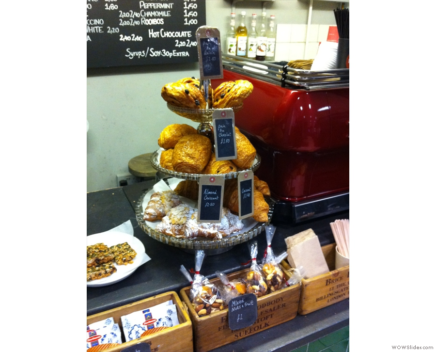There are also plenty of freshly-baked pastries, essential to get you going of a morning!