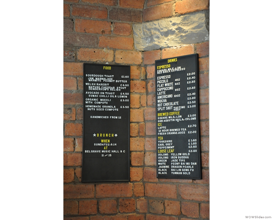 The food and drinks menus.