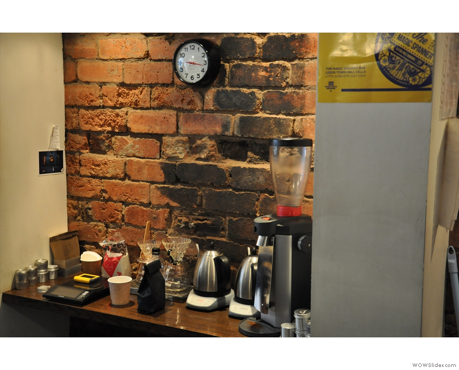 For such a small space, there's a lot going on: pour-over filter, for example...