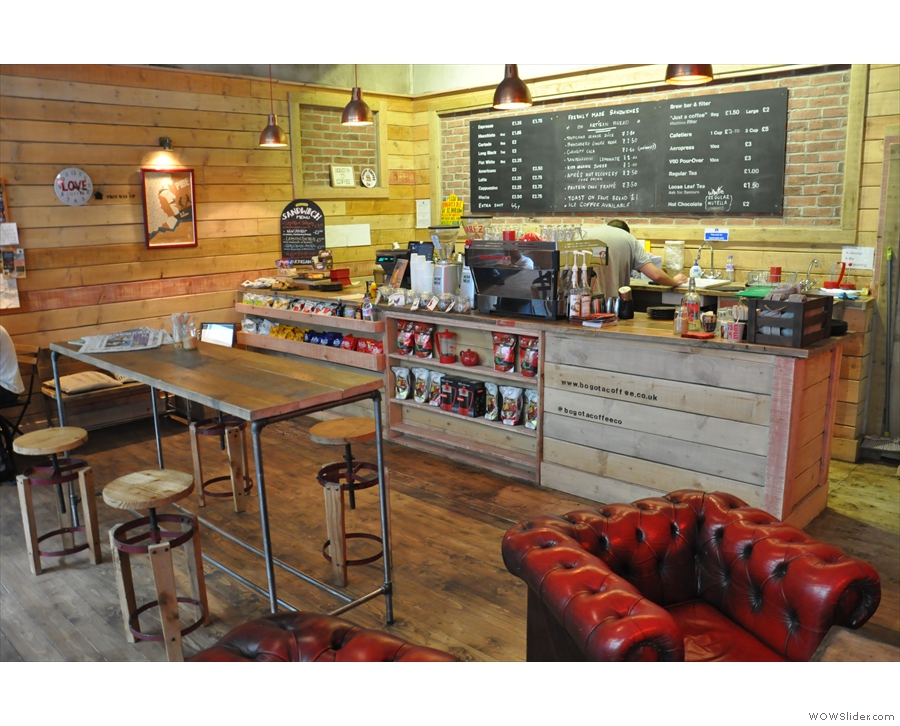 October: the warm and welcoming interior of Bogotá Coffee, Milton Keynes