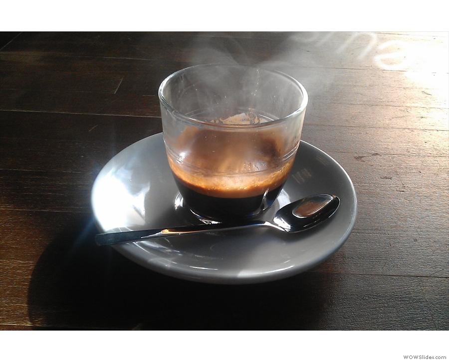 December: a steaming espresso in the morning sunlight in Brewsmiths, Birmingham