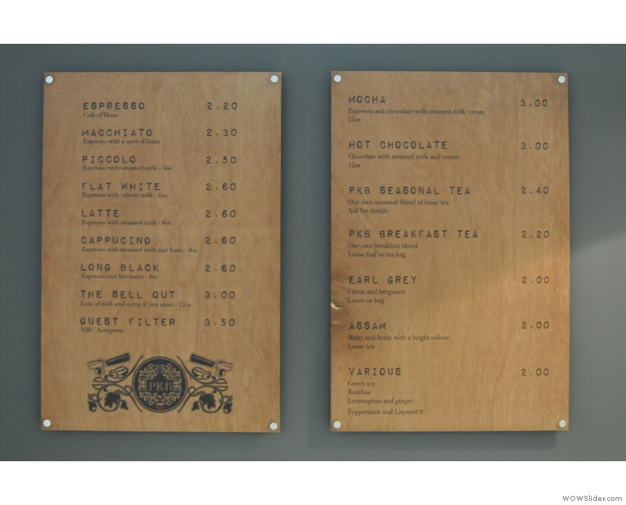 Right, down to business. The comprehensive drinks menu is worth a closer look...