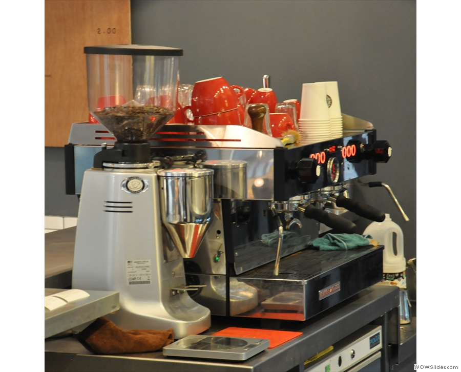 The business end of the La Marzocco.