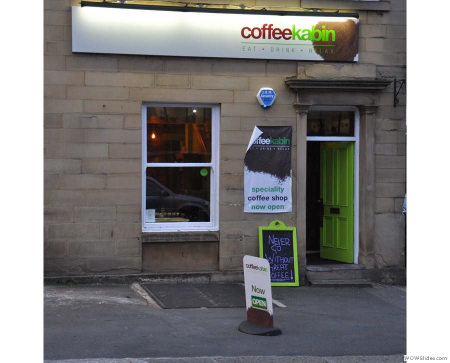 The Coffee Kabin, in Huddersfield, as seen from across the busy Queensgate road.