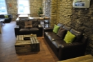 ... followed by this pair of sofas around a neat coffee table made of crates.