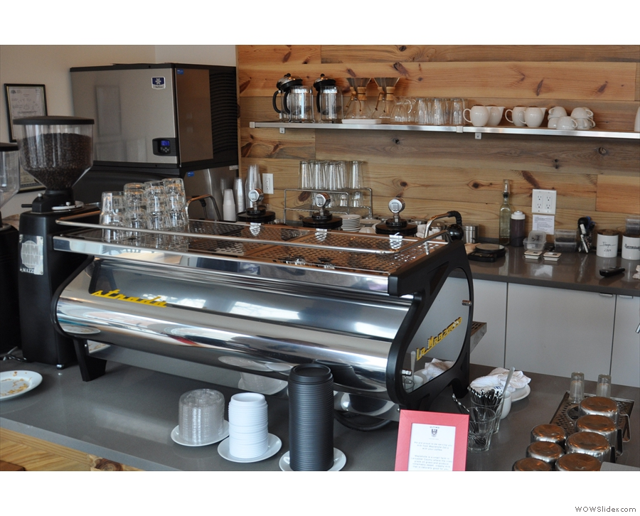 The (very) shiny La Marzocco Strada espresso machine.