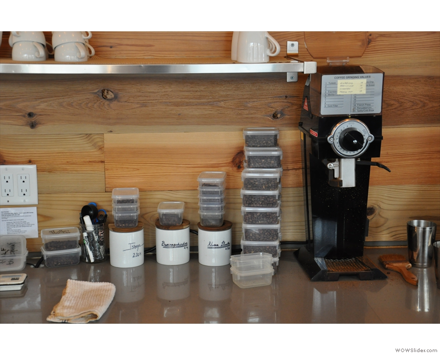There are three filter options, all kept behind the counter, pre-weighed & ready for grinding.