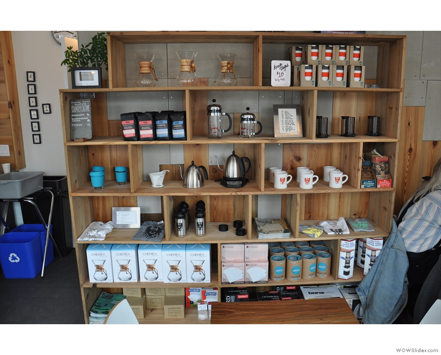 Directly opposite the door is this shelf of coffee & coffee-kit. Look! I can see JOCO Cups!