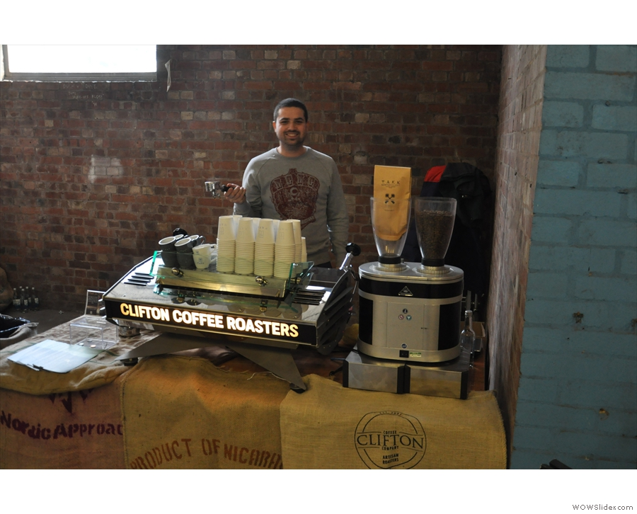 And roasters, Clifton Coffee Company, with Chris from Small St Espresso pressed into duty.