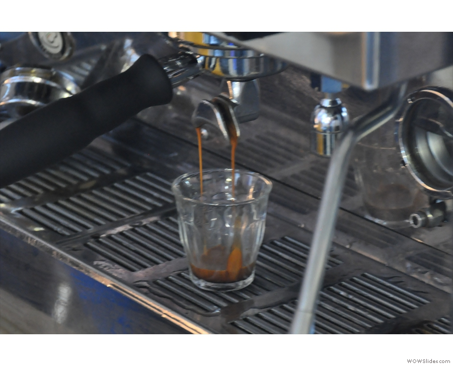 I like watching espresso being prepared in a glass.