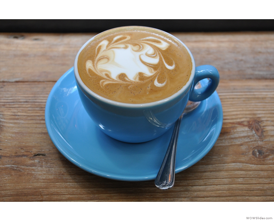 My flat white, with its wonderful latte art, from the first visit.