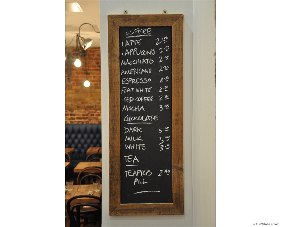 The hot drinks menu.