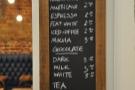 The hot drinks menu.