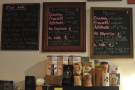 The beans are chalked up above the counter; somehow I only photographed the espressos.