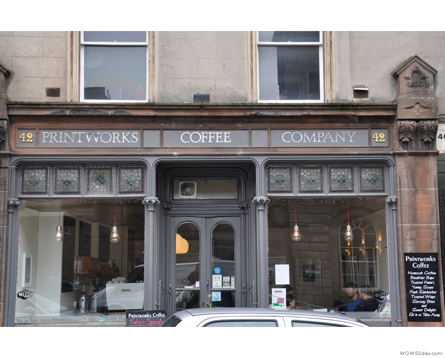 Printworks Coffee in Leith. Hard to get a good shot of without a car parked in the way!