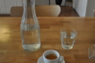 From my second visit, an epsresso and a carafe of water.