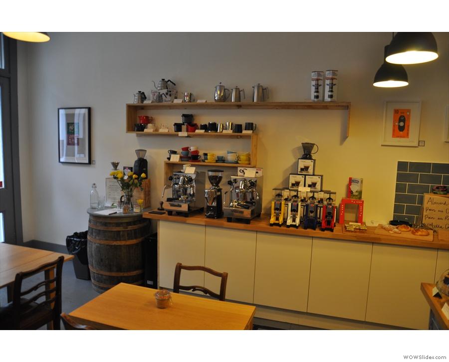 The equipment shelf dominates the left-hand wall.