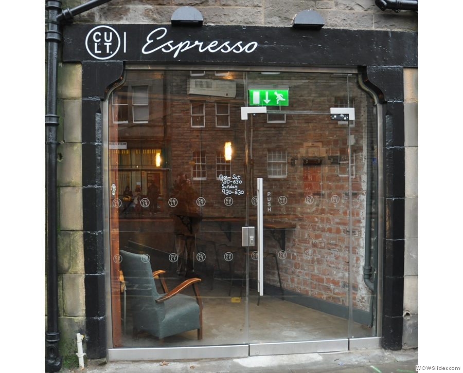Cult Espresso on Buccleuch Street, tucked away between two tenement buildings.