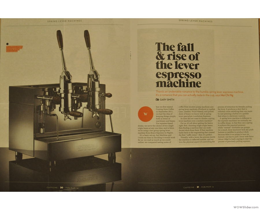 Inside, Hoi Chi Ng shines a spotlight on the lever espresso machine.