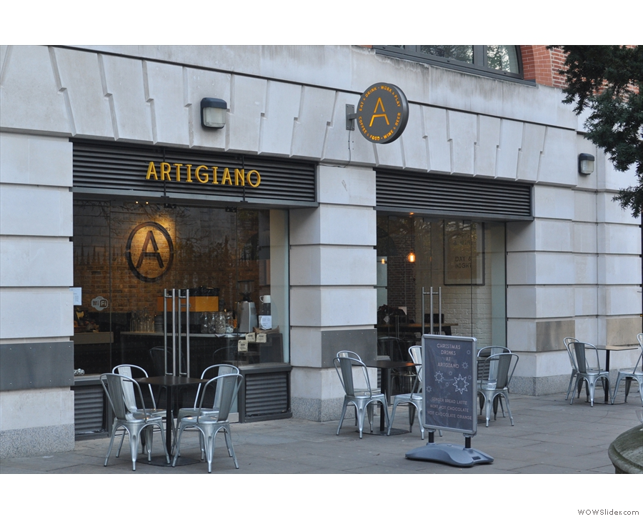 Artigiano Espresso, the orignal branch, seen from the direction of Ludgate Hill...