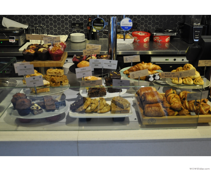 There's an interesting array of cakes and pastries...
