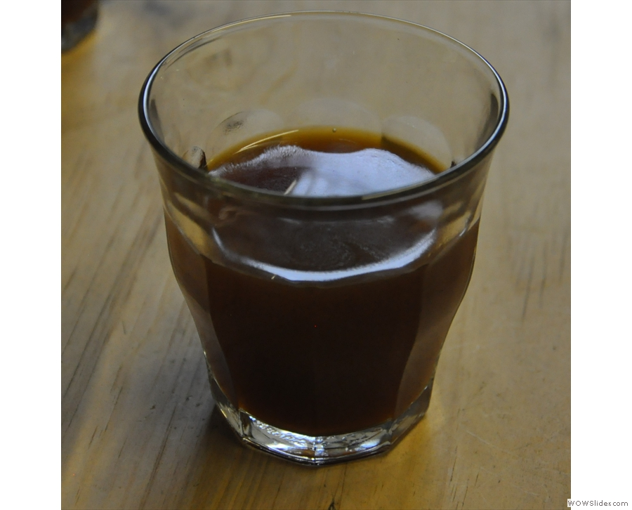 Once again, my coffee in a glass.
