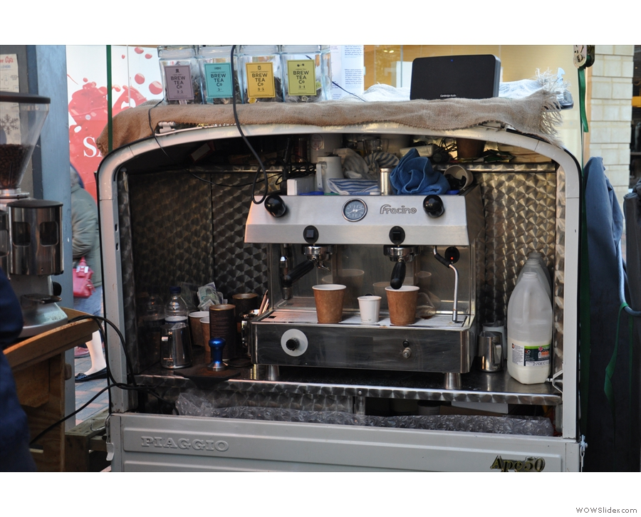 ... and a two-group espresso machine in the back of the Ape.