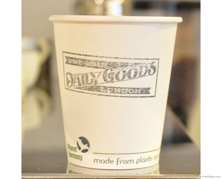 A fine Daily Goods' takeaway coffee cup in its original location on London's Golden Square.