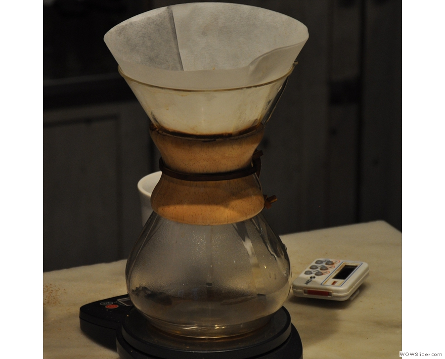 Trying a Chemex at Philadelphia's Elixr, which roasts all its own coffee too.