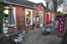 The lovely, sheltered, outdoor seating area at Lymington's Lemana Café