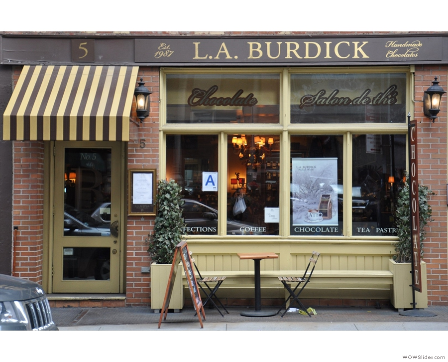 The NYC branch of LA Burdick. Chocolate heaven, with damn fine coffee too.