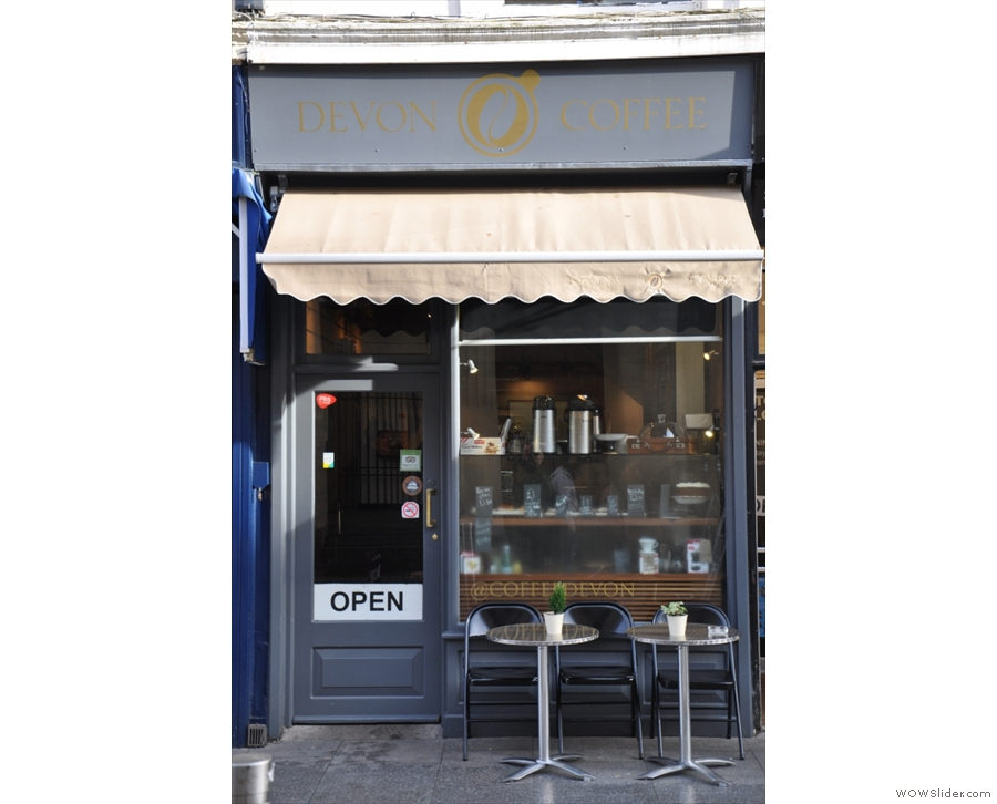 Devon Coffee, with its cosy and welcoming interior on Queens Street in Exeter.