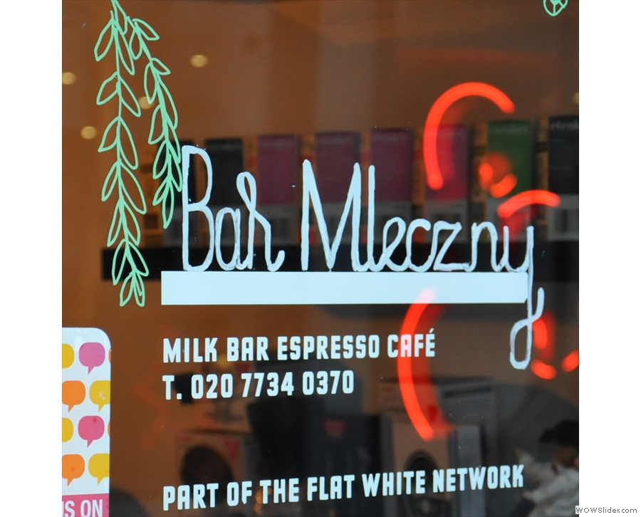 Milk Bar, in Soho, an oasis of calm and home to a very happy set of baristas.