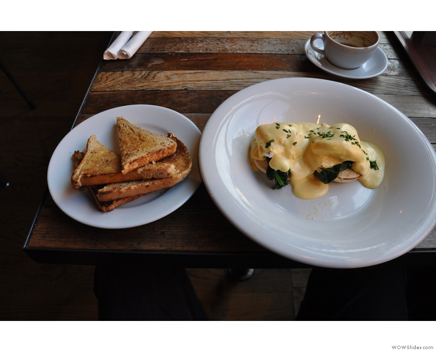A 3-in-1 nomination for the Boston Tea Party and my favourite breakfast, Eggs Florentine.