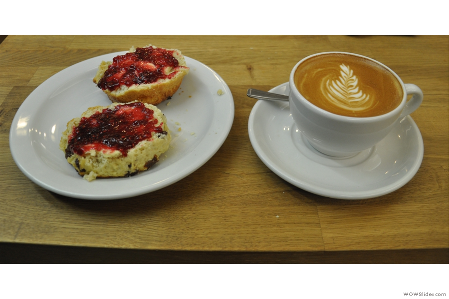 Scone and flat white together. What a perfect combination!
