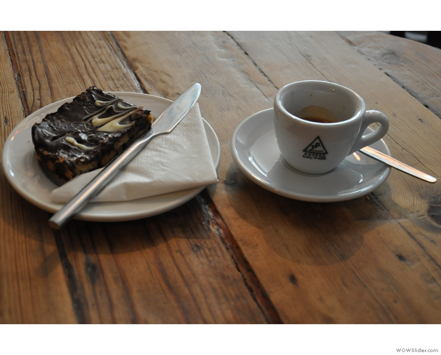 My espresso and a chocolate tiffin (no longer hiding in the fridge).
